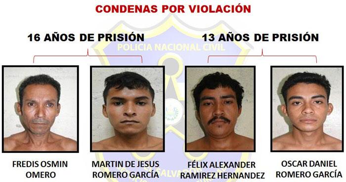 Imponen condenas de hasta 16 años de prisión a cuatro violadores de Usulután