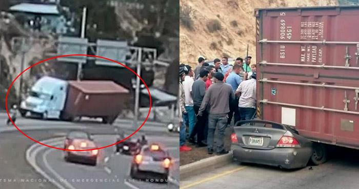 Joven sobrevive al caer contenedor sobre el vehículo que conducía en carretera de Honduras
