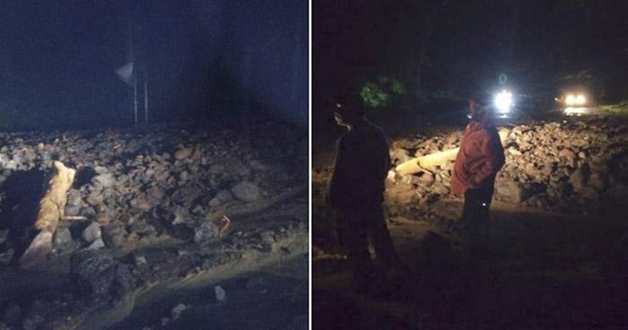 Lluvia provocó derrumbe en carretera Panamericana, en San Miguel