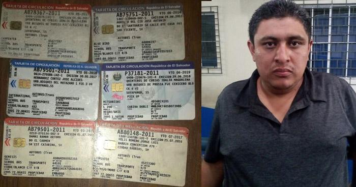Capturan a sujeto con 6 tarjetas de circulación falsas en San Salvador
