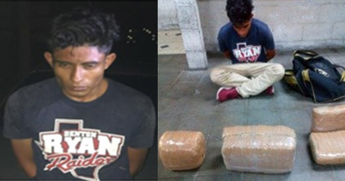 Sorprenden a joven transportando cinco paquetes de droga en Cuscatlán