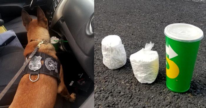 Descubren dos porciones de cocaína ocultas en un vaso en San Salvador