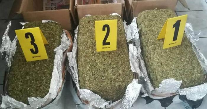 Tres salvadoreños fueron capturados en Guatemala con más de 60 libras de marihuana