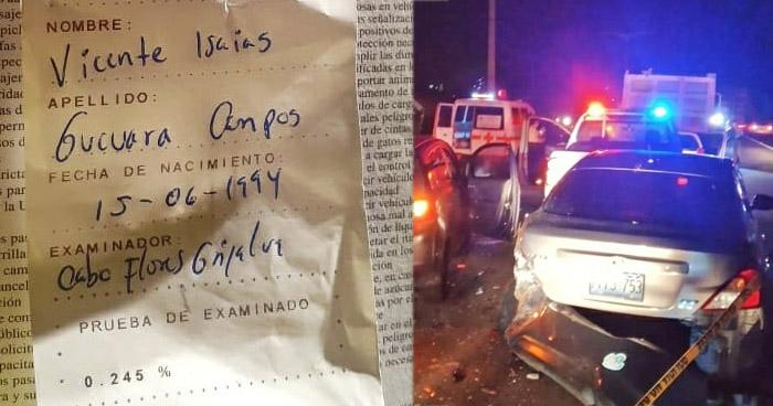 Conductor con 245° de alcohol lesiona a policía cuando custodiaba accidente