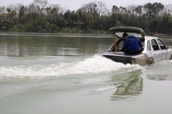 Chino crea auto anfibio