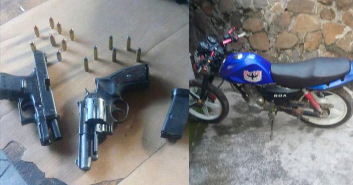 Incautan armas de fuego y una motocicleta, a pandilleros que operaban en Cabañas