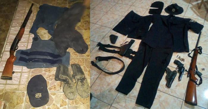 Incautan uniformes de la PNC y armas a tres hombres en Ahuachapán