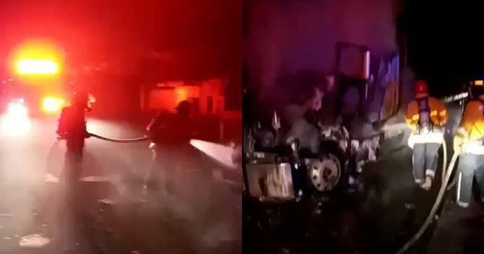 Cabezal destruido al incendiarse en carretera de San Miguel