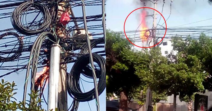 Corto circuito provocó incendio en cableado sobre la Alameda Manuel Enrique Araujo