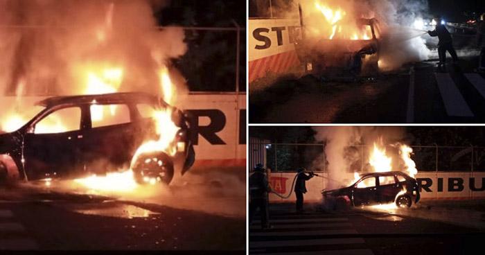 Santa Ana: Vehículo se incendió por una fuga de combustible