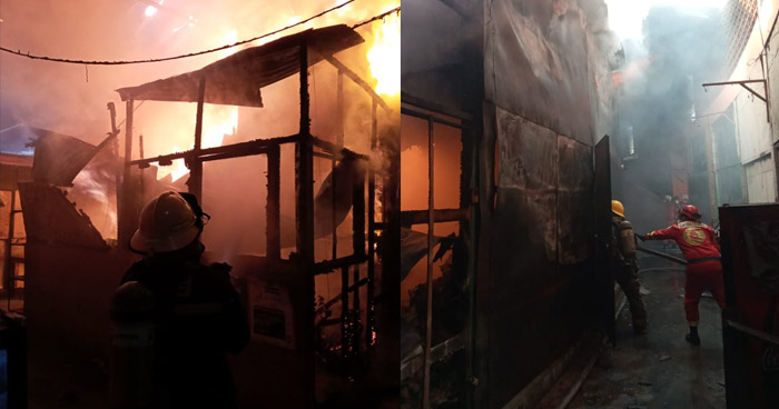 Fuerte incendio daño varios puestos al interior del Mercado La Tiendona