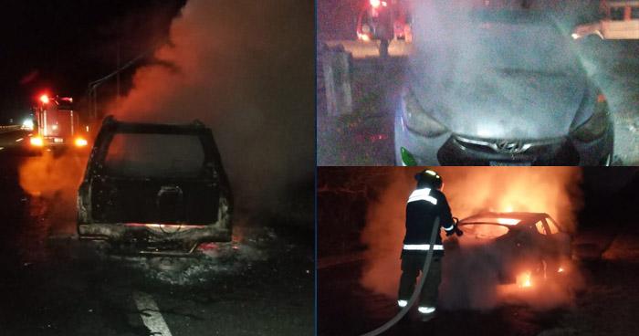 Bomberos atendieron tres incendios en vehículos, uno provocado