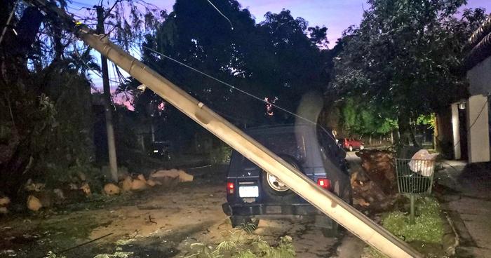 Sectores sin energía eléctrica por caída de árboles y postes tras fuerte lluvia de anoche