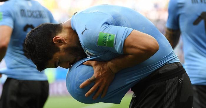 Luis Suárez anuncia que será papá por tercera vez durante el festejo de su gol ante Arabia Saudita
