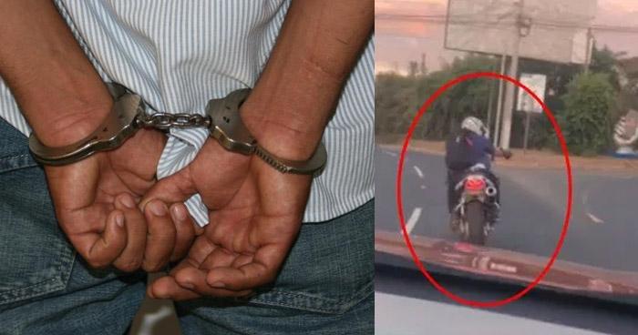 Capturan a motociclista que disparó contra un vehículo en desvío hacia el Puerto de La Libertad