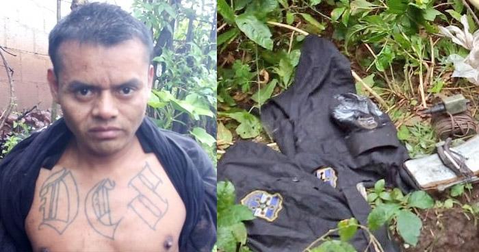 Capturado con artefacto explosivo, uniformes policiales y droga