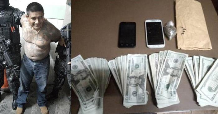 Peligroso pandillero capturado en La Libertad portaba droga y $7,000 enefectivo