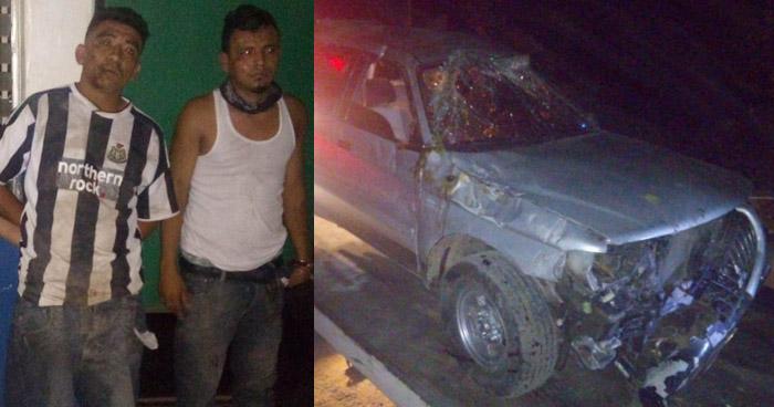 Cinco pandillero capturados tras volcar el vehículo en el que huían tras atacar a Policías