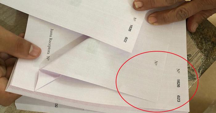 Denuncian hallazgo de papeletas sin correlativo o números repetidos
