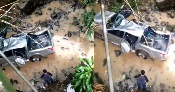 Conductor de un Pick Up pierde el control y cae a un barranco en San Miguel