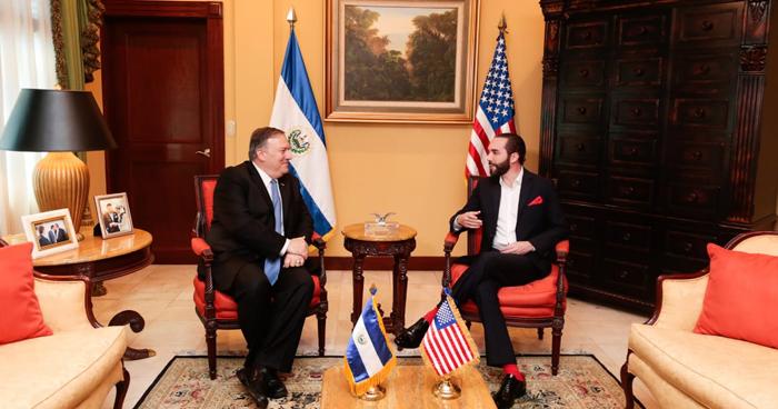 Presidente Nayib Bukele se reunió hoy con el secretario de Estado de Estados Unidos, Mike Pompeo