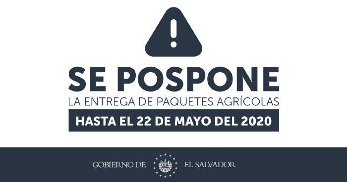 Posponen entrega de Paquete Agricola hasta el 22 de Mayo