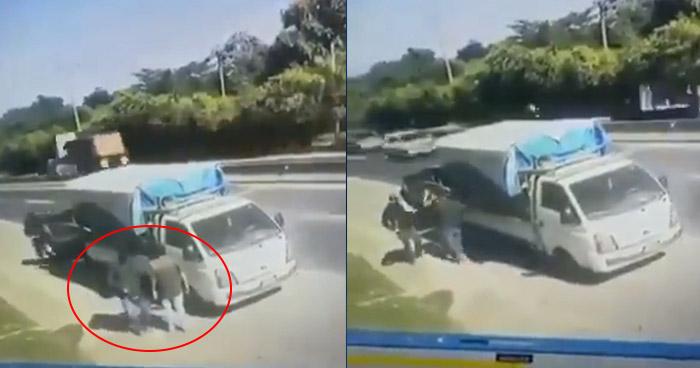 VIDEO | Captan privación de libertad de motorista en carretera a Quezaltepeque