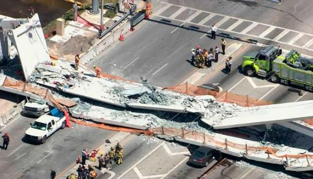 Colapsa puente peatonal recién inaugurado en autopista de Miami y deja varios lesionados