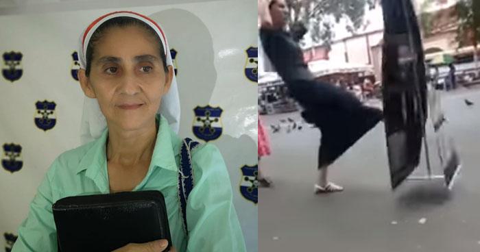 Narcisa Escobar, era la religiosa que fue captada agrediendo a Testigos de Jehová en San Miguel