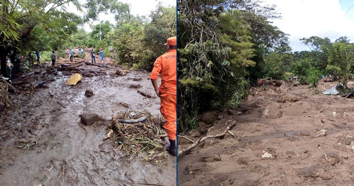 Rescatan a familia atrapada por desborde de río en Joateca, Morazán