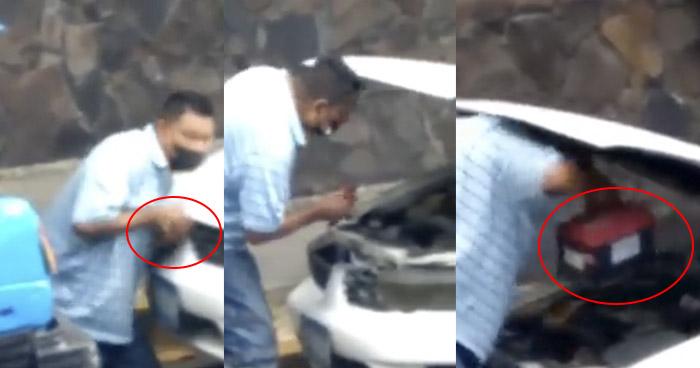 VIDEO   Sujeto es captado hurtando batería de un vehículo en San Salvador