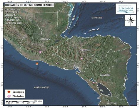 Sismo de magnitud 5.1 frente a costas de Guatemala fue percibido en territorio salvadoreño