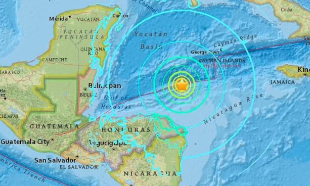 Terremoto de 7.6 grados sacude el atlántico Hondureño este martes