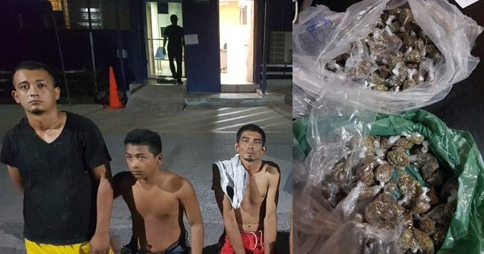 Cinco capturados y más de 100 porciones de droga incautados
