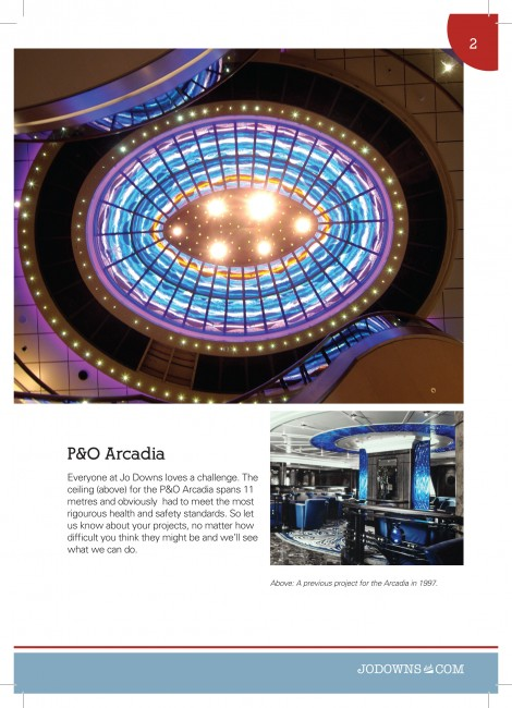 Arcadia cruise ship ceiling A5 Gloss Brochures printed by Solopress for Jo Downs Handmade Glass