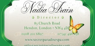 Solopress printed and die cut these 400gsm Silk Business Cards for Secret Paradise Spa in London
