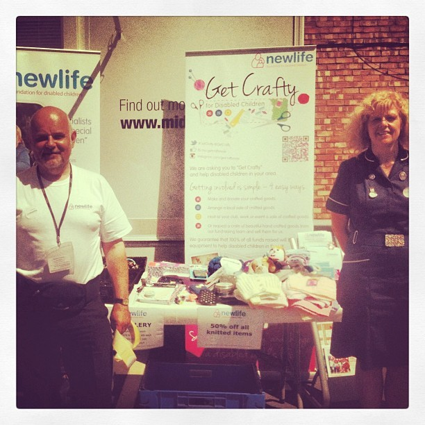 Newlife's Roller Banners at a charity craft stall in Raunds Northamptonshire