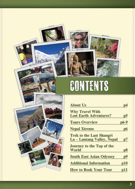 Lost Earth Adventures travel brochures contents page