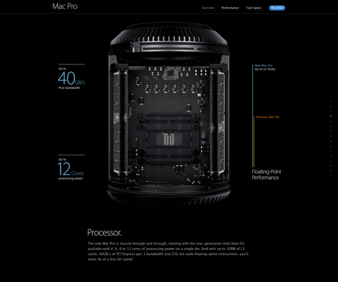Apple Mac Pro parallax website -is dark and mysterious