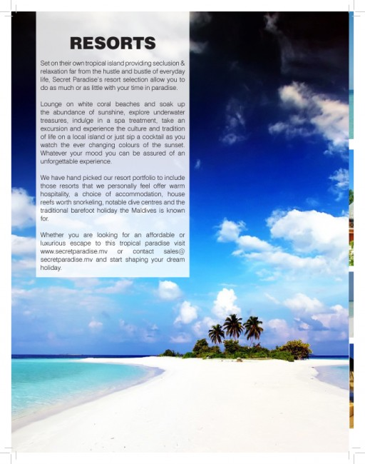 Secret Paradise inside brochure page shows a beautiful beach in a tropical place