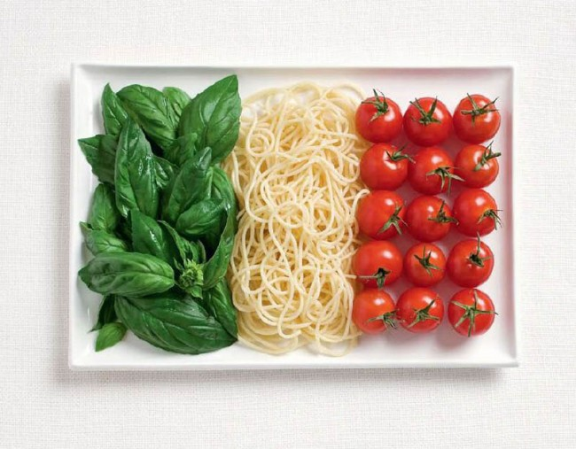 Italian flag made from food