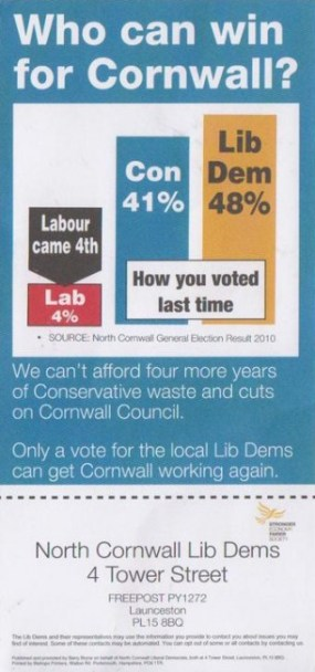 Liberal Democrats Cornwall election flyer front