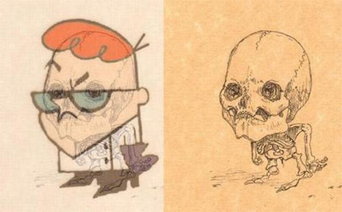 Famous-Cartoon-Character-Dexter-Laboratory-Skeleton-Anatomy-Funny-Sketch-Drawing