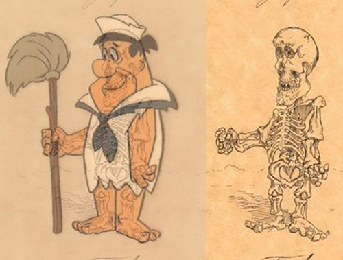 Cartoon sketch of Fred from The Flinstones and what his skeleton would really look like underneath