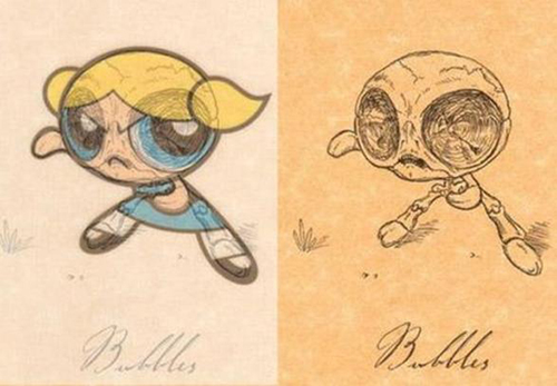 Bubbles from The Powerpuff Girls without skin, just bone