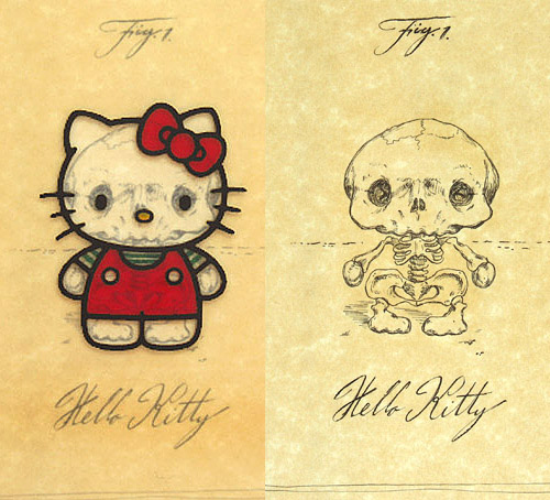 Hello Kitty's skeleton frame looks like a squashed tin can