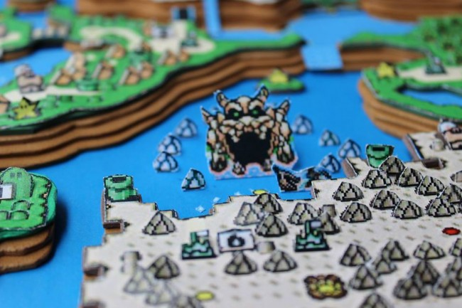 Super Mario World 3D paper diorama close-up
