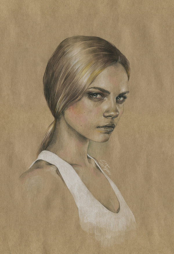 Drawing of Cara Delevingne on thick paper wearing a white vest top