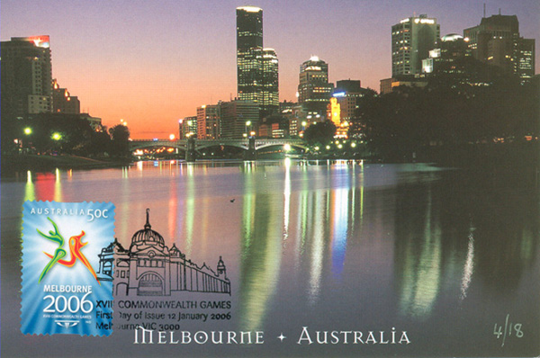 Colourful postcard for the Commonwealth Games in Melbourne shows the city at night from water level