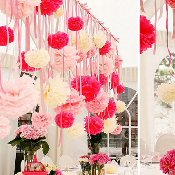 Beautiful pink and cream paper pom pom flower garland idea